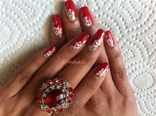 Gold Red White Nail Art
