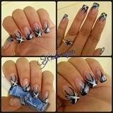 Black And White Diagonal French Tip Nail Art