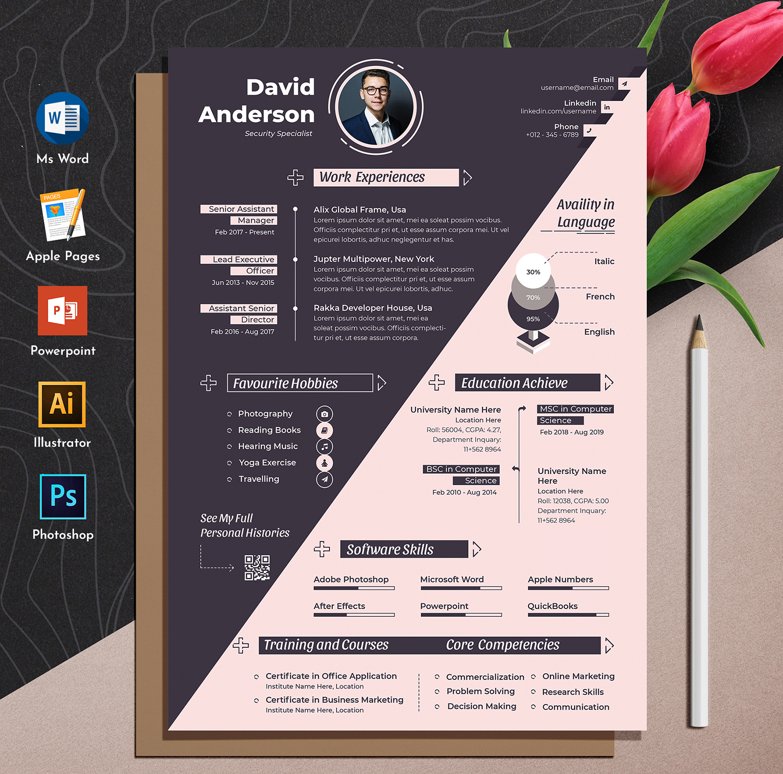 Creative & Modern Editable Word Apple Pages Cv Resume Template