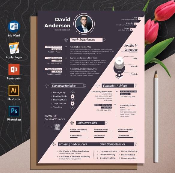 Creative & Modern Editable Word Apple Pages Cv Resume Template