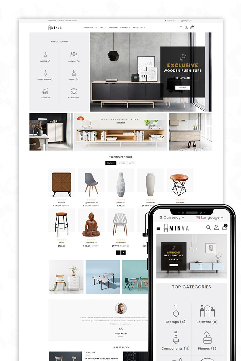 opencart vorlage namens minva the furniture shop grosser screenshot