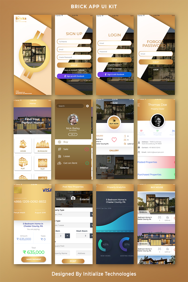 Bricks Mobile App UI PSD Template 71846