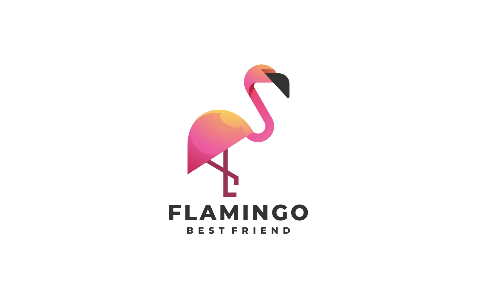 Flamingo Gradient Logo Template - Shades of Pink