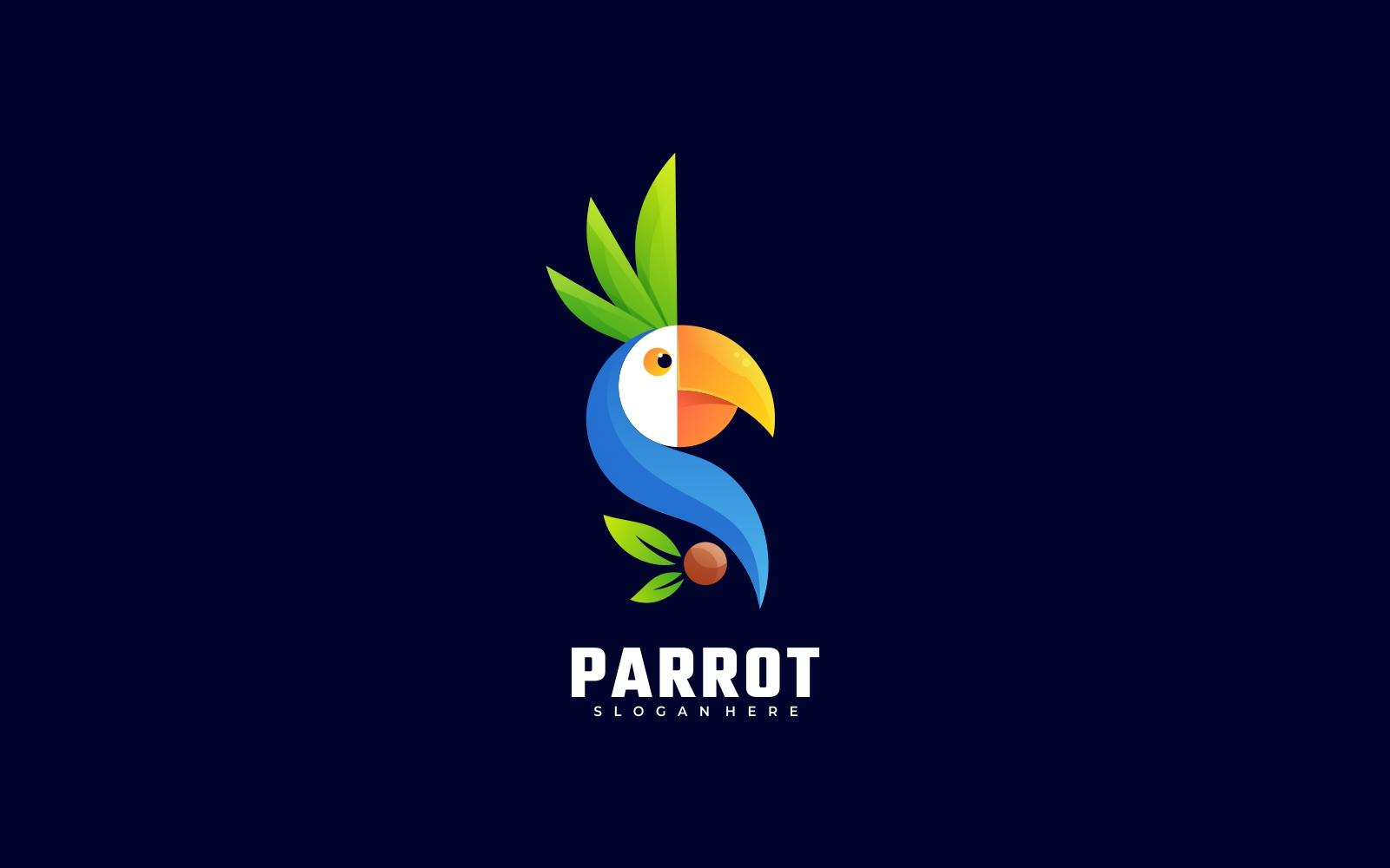 Modern 3D Parrot Gradient Logo Template