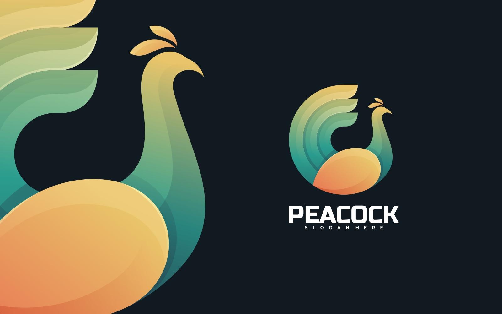 Peacock 3D Gradient Duotone Logo Template