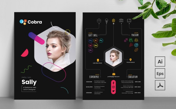 Modern CV Resume Template - Trendy and Colorful Design