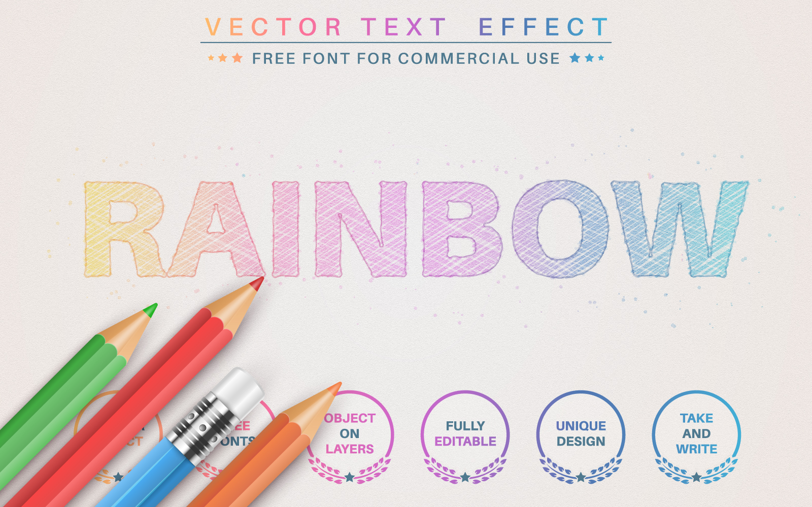 Pencil Rainbow - Editable Text Effect, Font Style Graphic Illustration