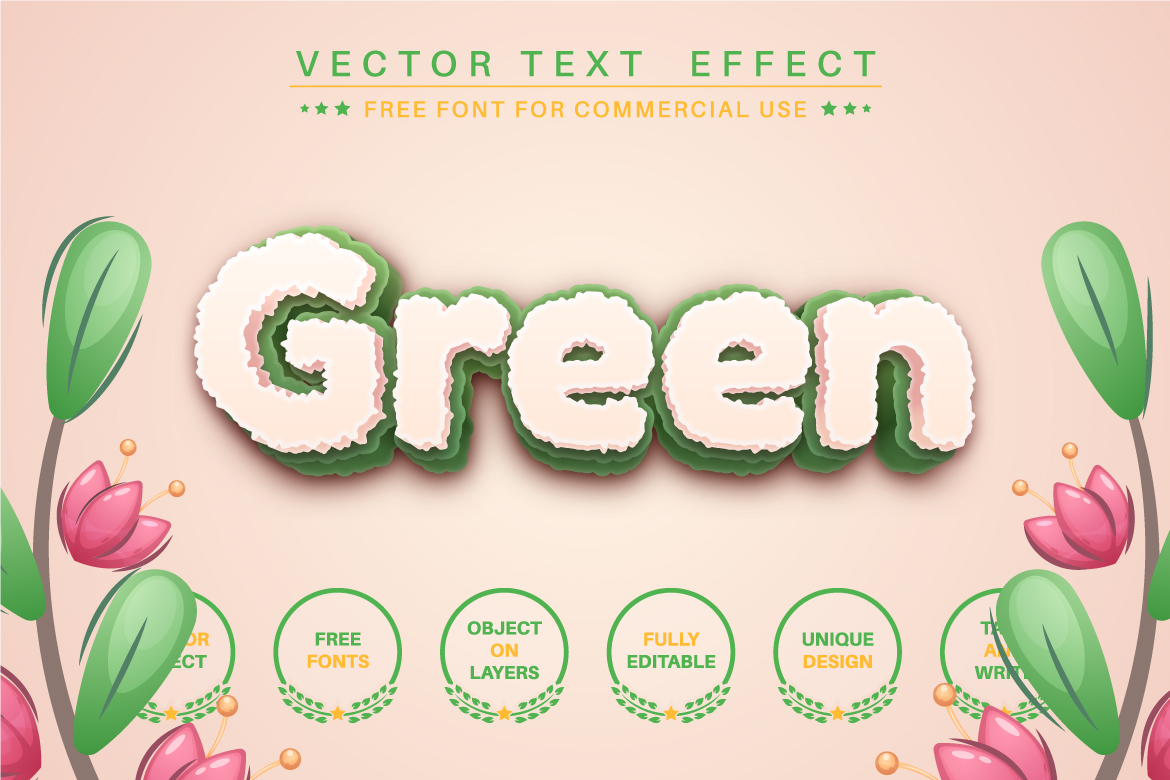 Grass - Editable Text Effect, Font Style, Graphics Illustration