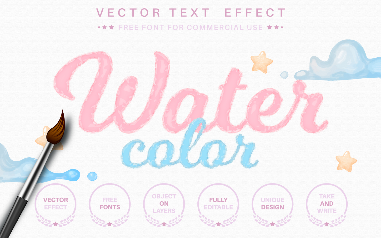 Watercolor - Editable Text Effect, Font Style Graphic Illustration