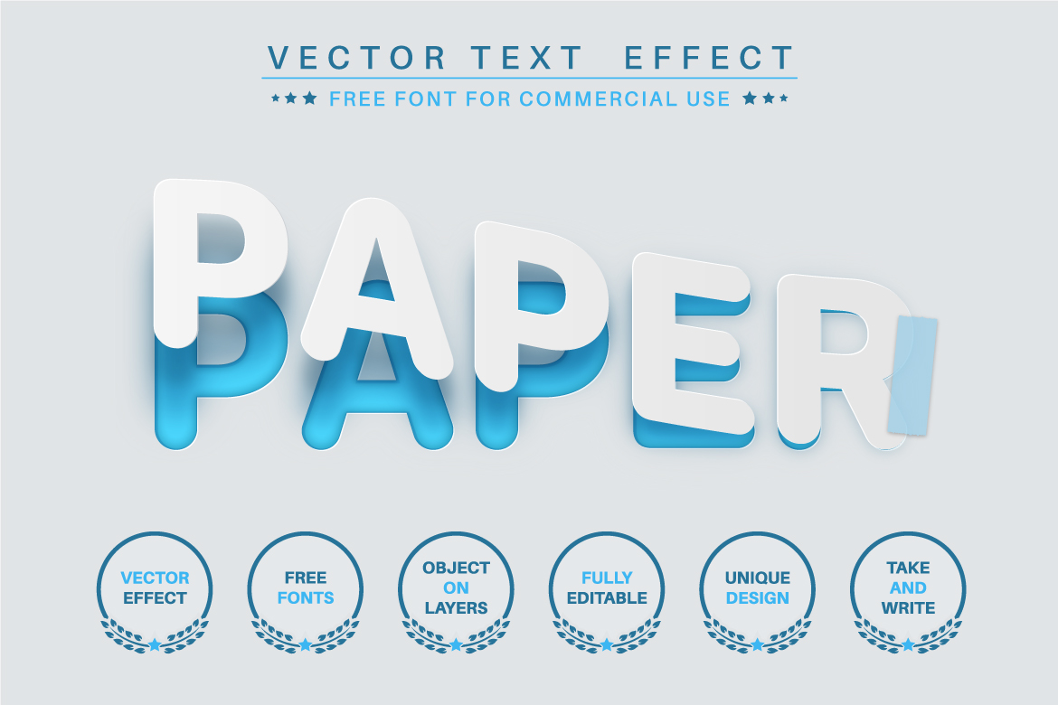 Torn Paper - Editable Text Effect, Font Style Illustration