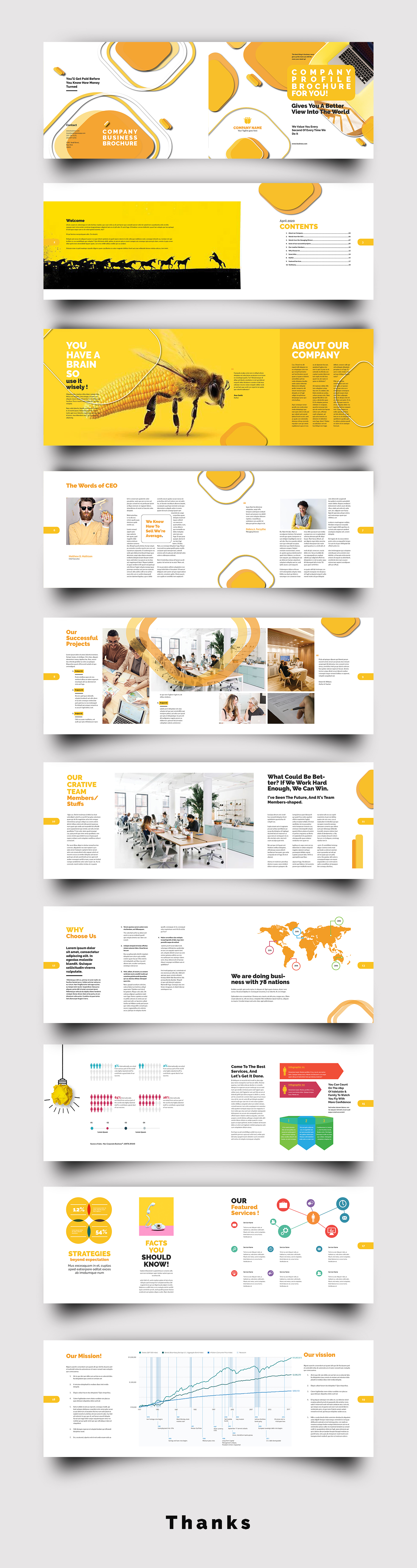 Creative Yellow and White Brochure Design Template