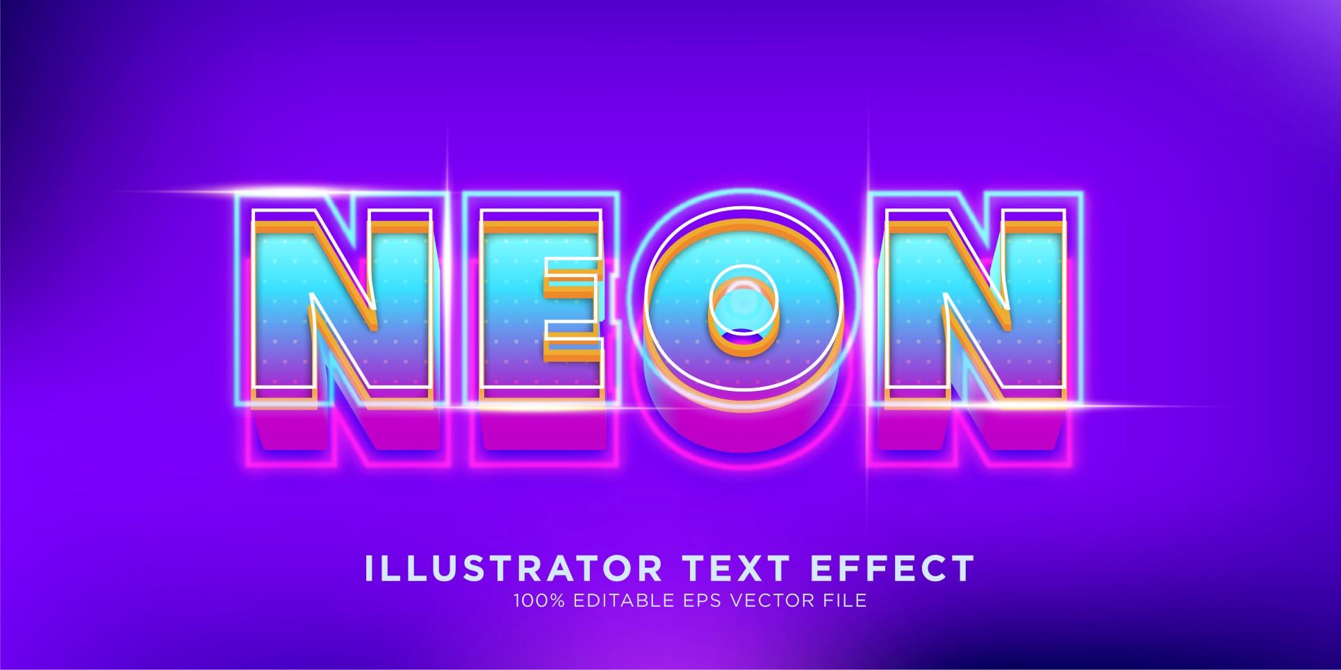 Neon Illustrator Text Effect Illustration