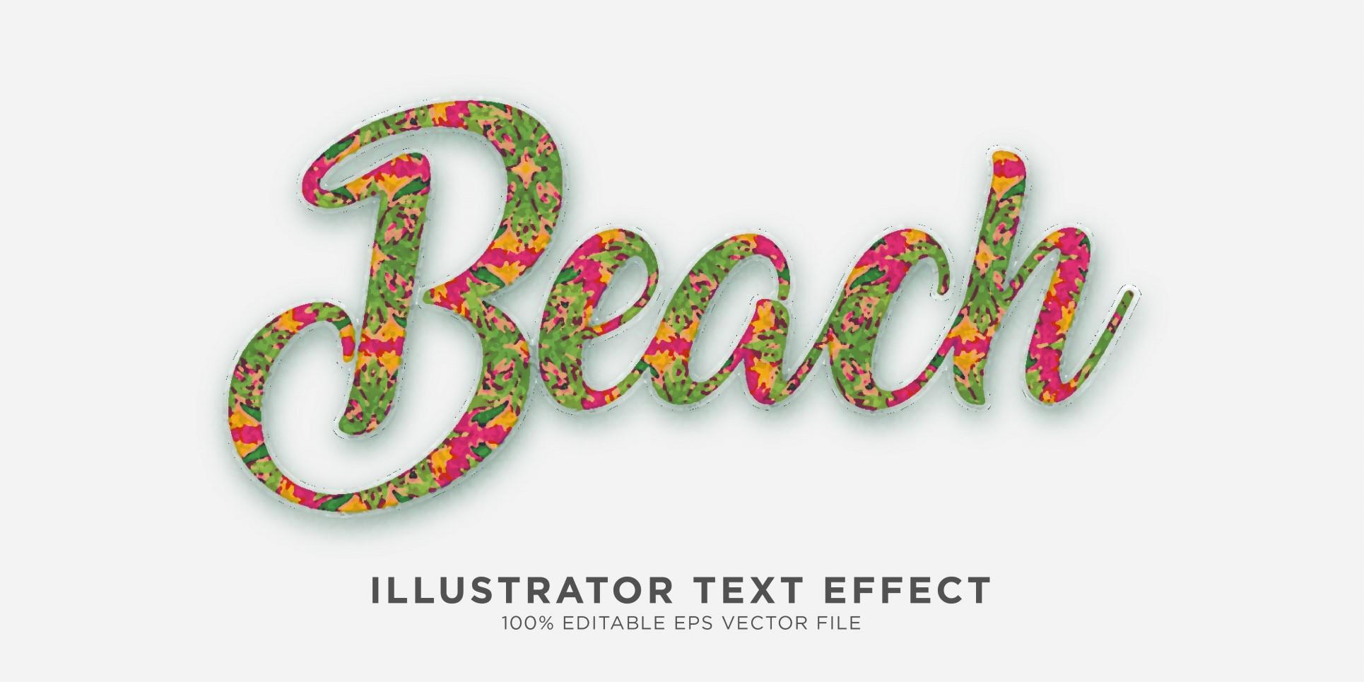 Beach illustrator Text Effect Illustration