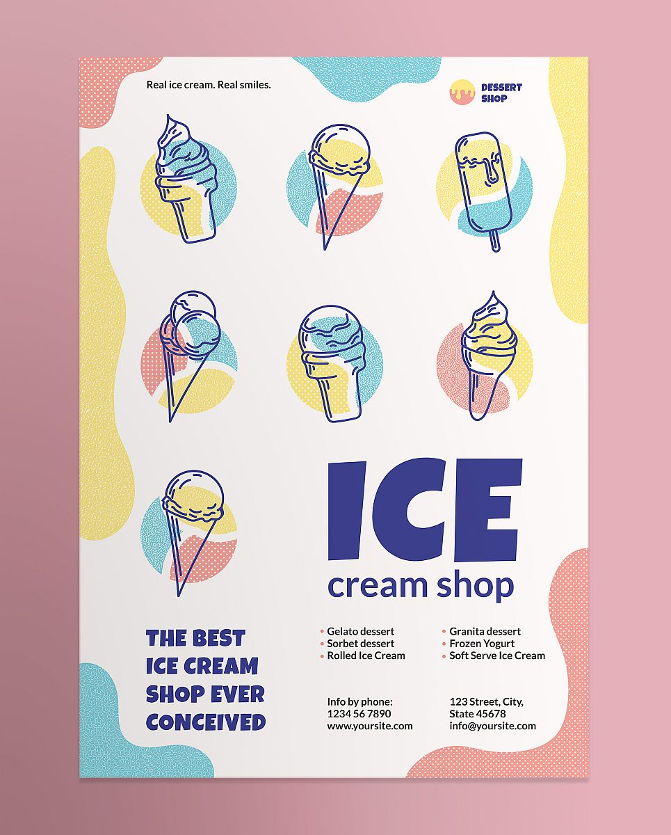 Creative and Fun Ice Cream Shop Poster Template - Colorful Abstract Design