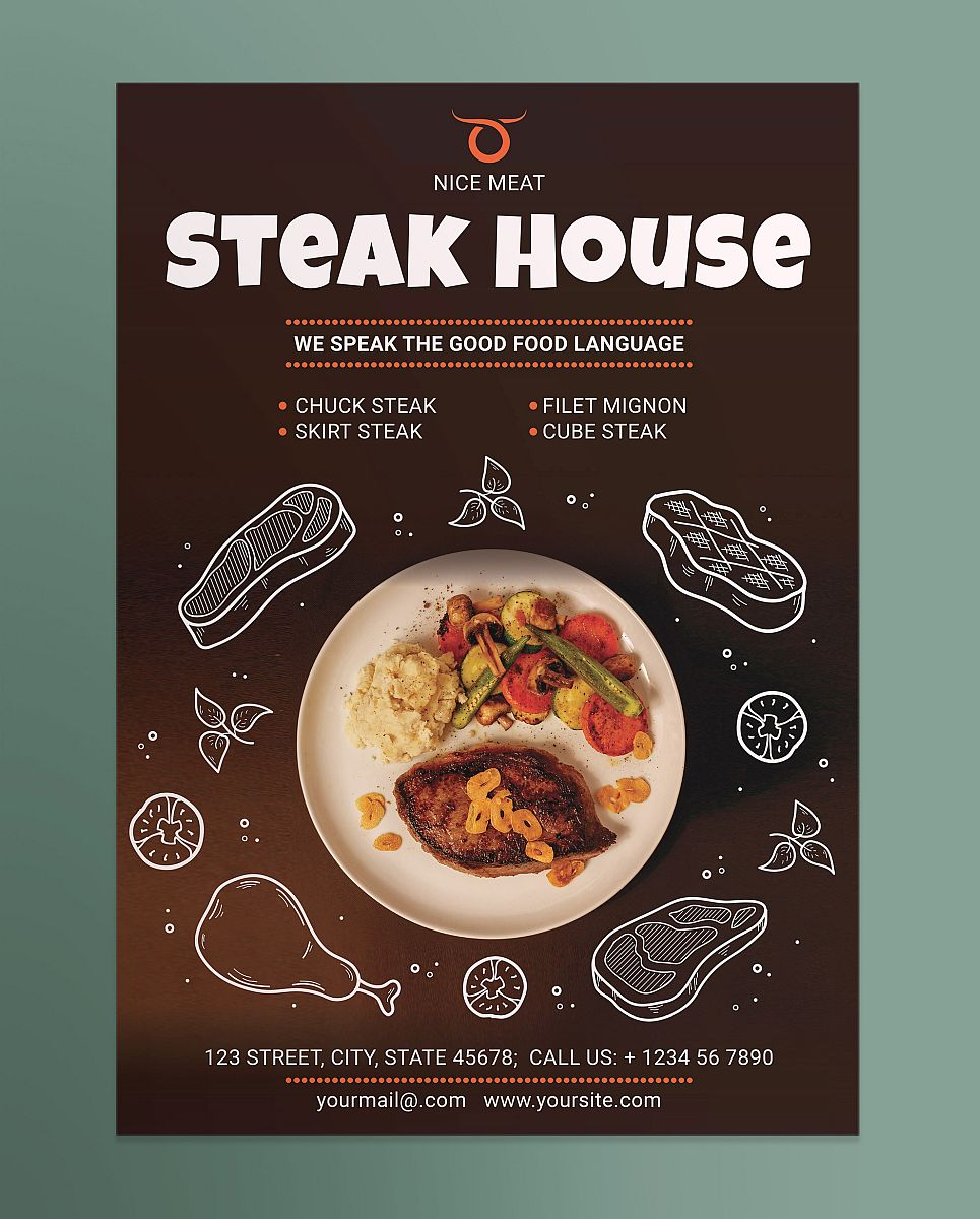 Creative Steak House and Restaurant Poster Template With Illustrated Design