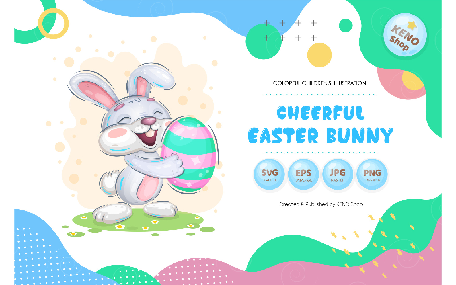 Cheerful easter bunny - Vector Image