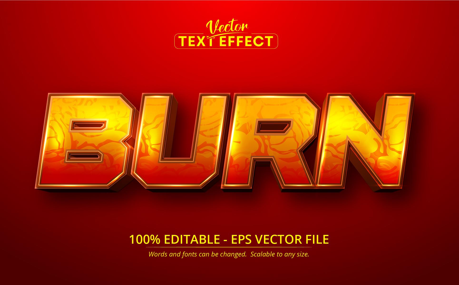 Burn Style Editable Text Effect Vector