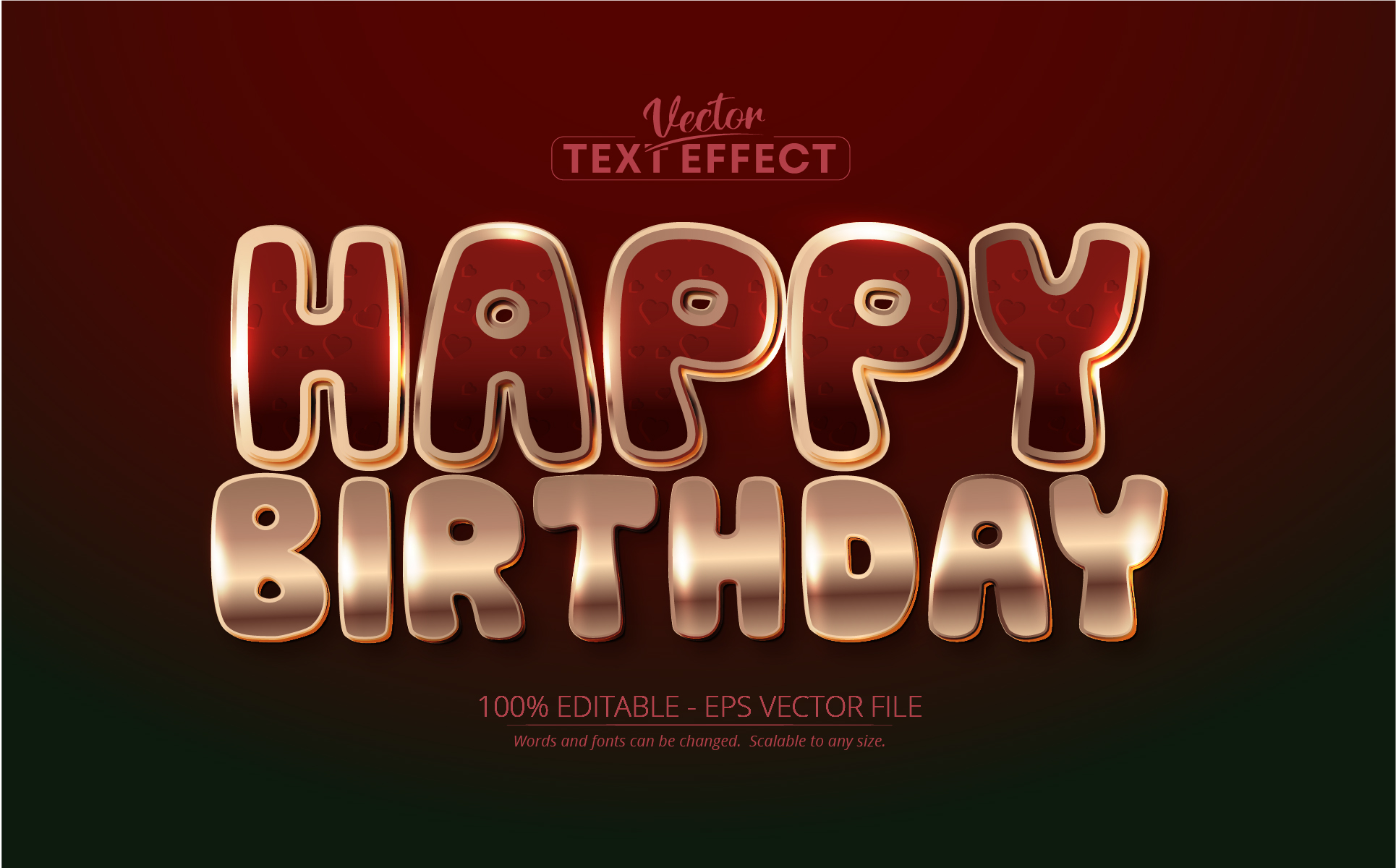 Shiny Rose Gold Text Effect Vector
