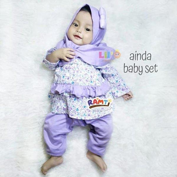 SALE.. Setelan baju muslim anak 0bulan.6 bulan dan 1 tahun . eLBi - Ainda - Merah Muda . TERMURAH . TERLARIS .