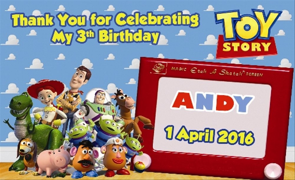 Jual Kartu Ucapan Terimakasih Ulang Tahun Anak Toy Story 03 Di