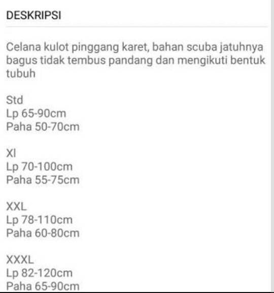 Best Seller Celana Kulot Panjang Xxxl