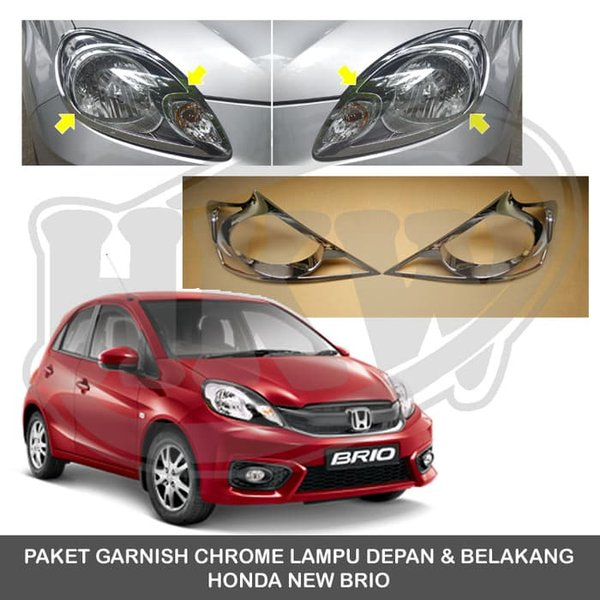 SALE PAKET GARNISH CHROME LAMPU DEPAN & BELAKANG HONDA NEW BRIO