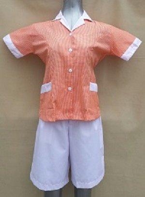 Baju Suster / Seragam Baby Sitter Celana Kulot Putih Baju Orange Kotak-Kotak Variasi Putih