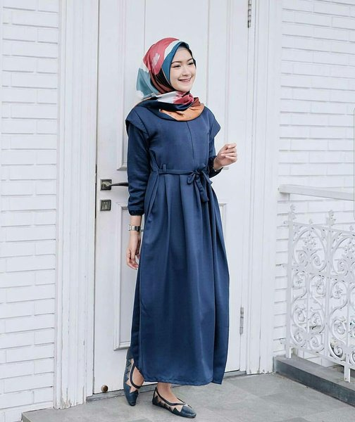 Dress polos busui - Gamis ibu menyusui - baju murah - Malika dress Navy