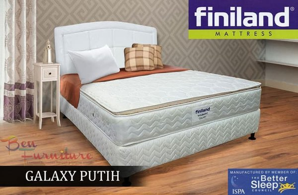 Kasur Finiland Spring Bed GALAXY WHITE PillowTop  FULLSET 200X200  Murah