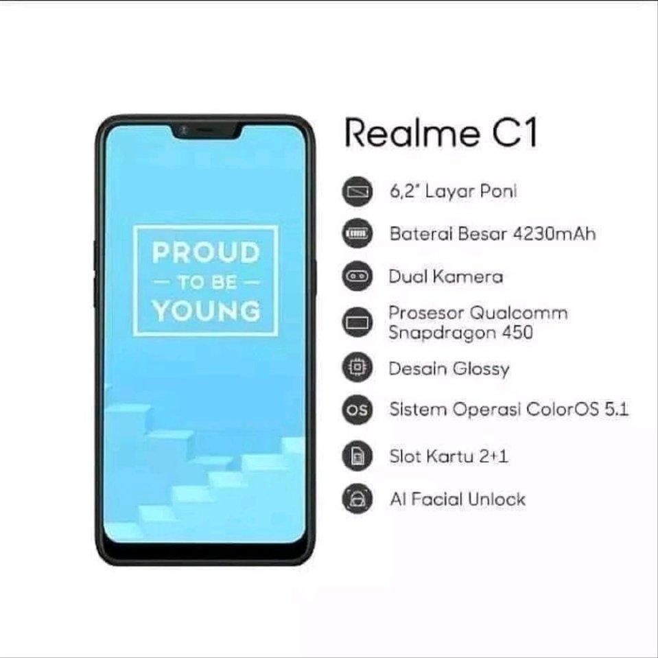 Image result for REALME C1 RAM 2GB/16GB Black - Garansi Resmi