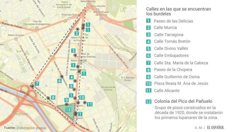Mapa de los burdeles clandestinos en el triángulo de la prostitución de Madrid