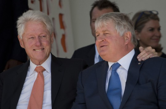 Bill Clinton and Denis O'Brien in Haiti. (AP)