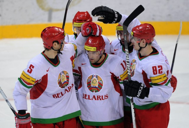 Belarus players celebrate their goal dur