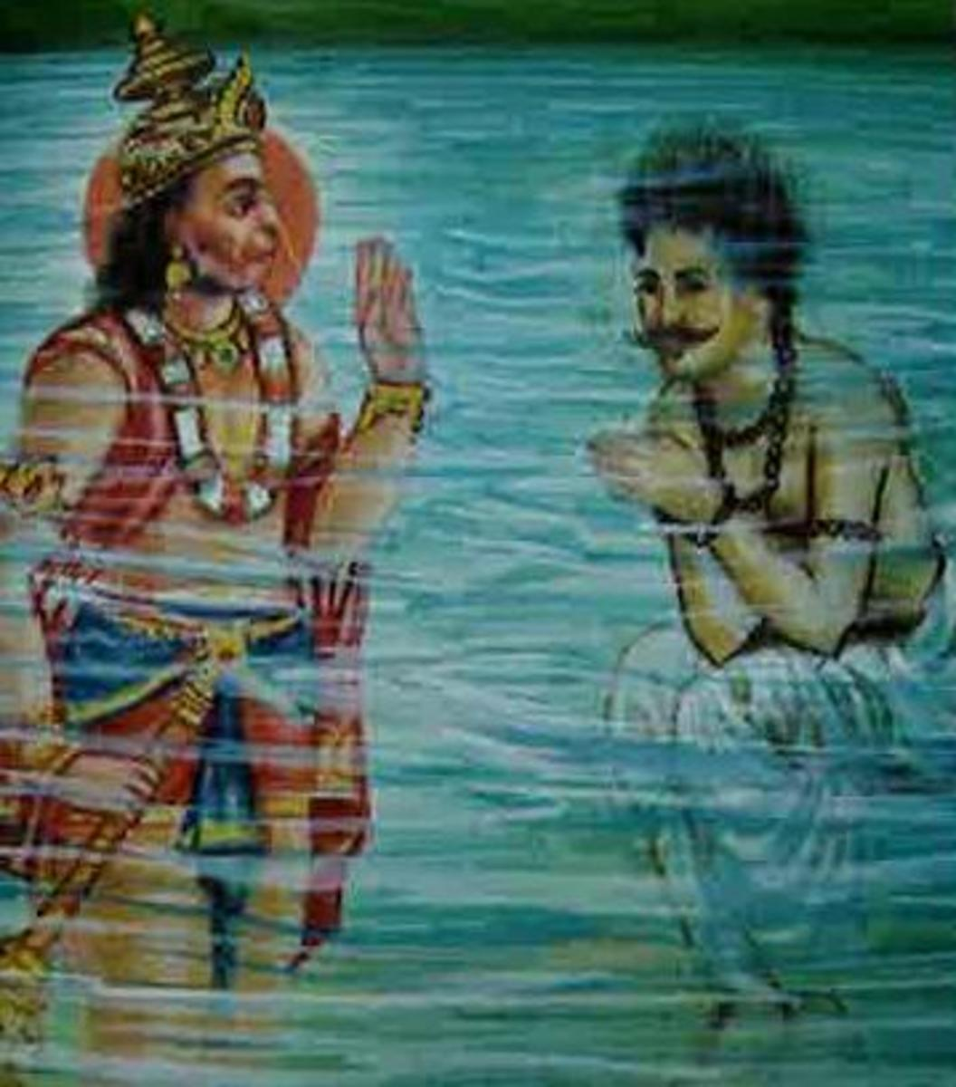 Picture depicting verse 38 of the Hanuman Chalisa