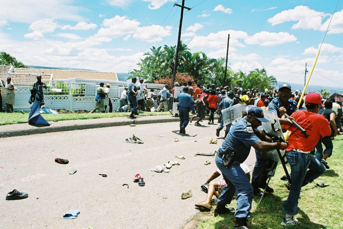 The South African police, under ANC rule, beat up and attacked women and children also men demonstrators and left most injured