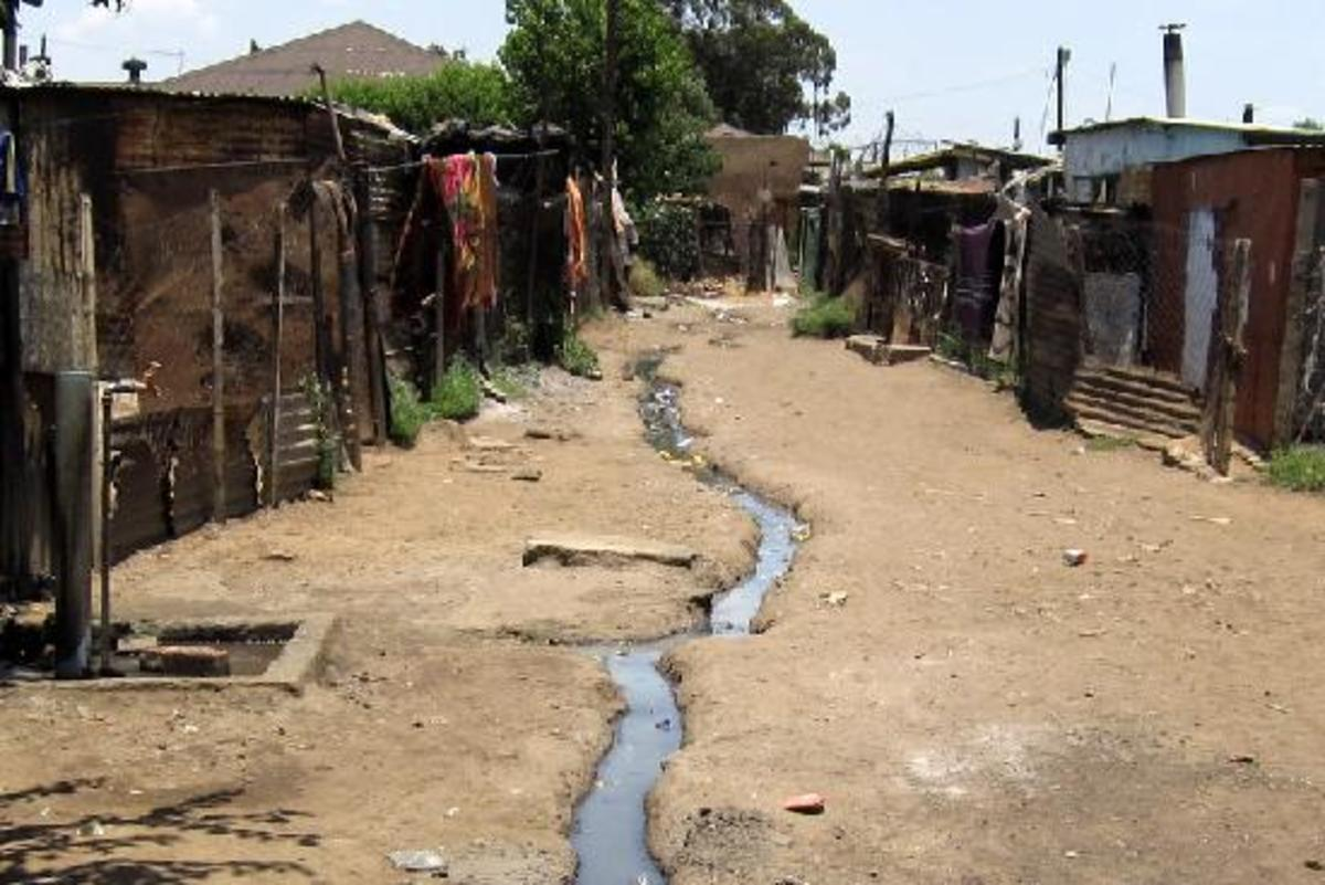 A street in a Shantytown, in Soweto, and could be readily be found in ll shacks throughout South Africa