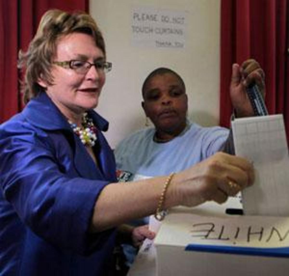 Helen Zille(Leader of the DA) votes on Wednesday