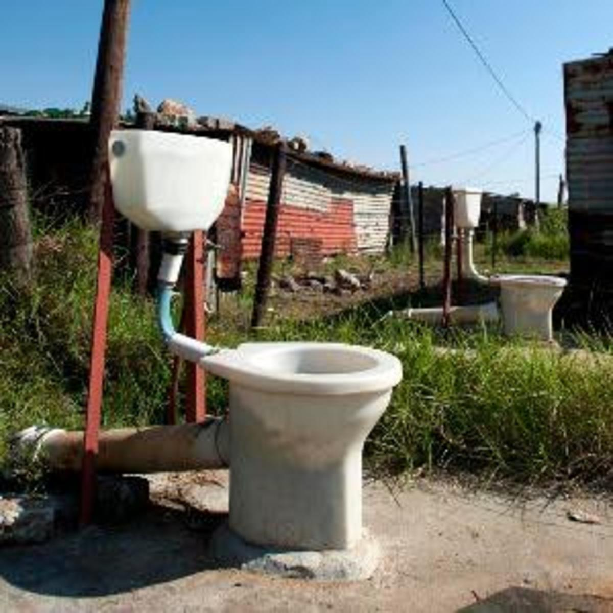 Toilet tenders stink because the people they were built for complain that they were left as seen on this picture. These are the unclosed toilets in Rammulotsi, near Viljoenskroon in tthe Free State, South Africa