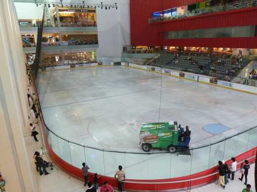 Ice rink right in the middle of Dubai Mall.