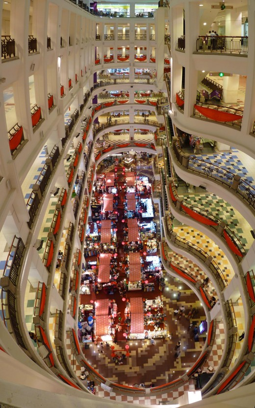 Main atrium of Berjaya Times Square shopping mall.