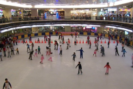 Ice skating inside Taman Anggrek Mall. Ice skating rink is possible altough there is no winter in Jakarta, Indonesia.