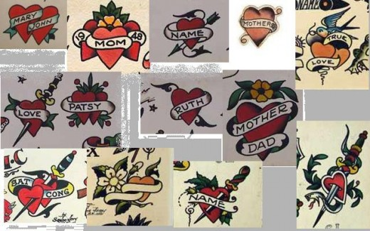 Heart images from actual 1940s tattoo flash.