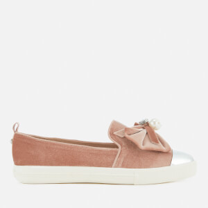 Miss KG Women's Lottie Velvet Pointed Slip-On Trainers - Nude