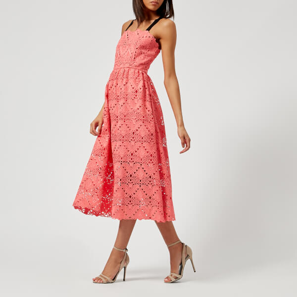 Perseverance London Women's Aztek Guipure Lace Strappy Midi Dress - Coral Pink