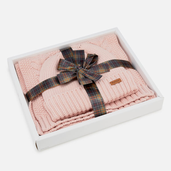 Barbour Women's Cable Hat & Scarf Set - Pink