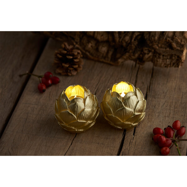 Sirius Helene LED Wax Candle Set with Timer - Gold