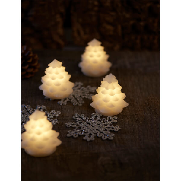Sirius Carla Wax Light Up Christmas Tree - Set of 4