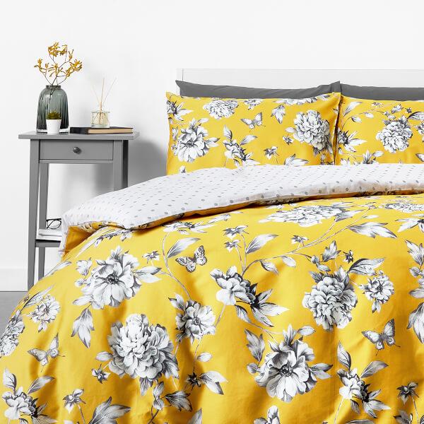 Trend in homeware Sophie Floral Duvet Set - Yellow