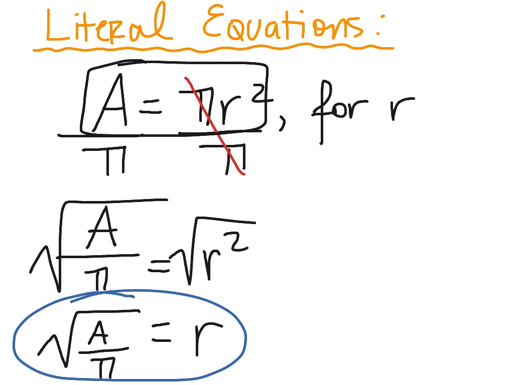 Literal Equations Examples