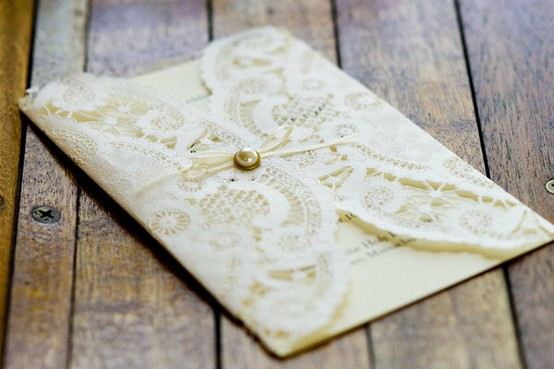 Diy Ivory Lace Doily Wrapped Wedding Program